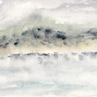 Landscape painting, watercolor painting, watercolor landscape, abstract landscape, original painting, lake, mountain painting, misty, 7X5