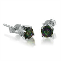 4mm Round Mystic Topaz Stud Earrings in 14K White Gold