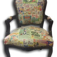Eclectic Decor - Tom & Jerry Cartoon Newspaper Accent Chair