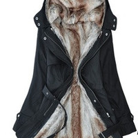 Faux fur lining women's fur Hoodies Ladies coats winter warm long coat jacket cotton clothes thermal parkas [8403973447]