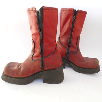 Awesome vtg shabby platform boots Goth Really Scary boots Red long boots Leather Fall  boots Grunge Hippie Punk Boots
