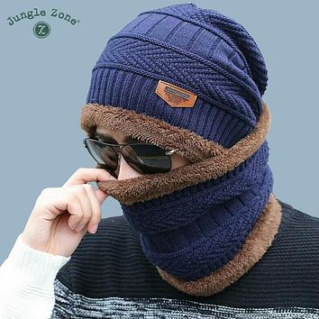 Neck warm winter hat knitted hat scarf two-piece cap Winter Caps men Caps men's knitted cap Fleece Knit hats Skullies Beanies