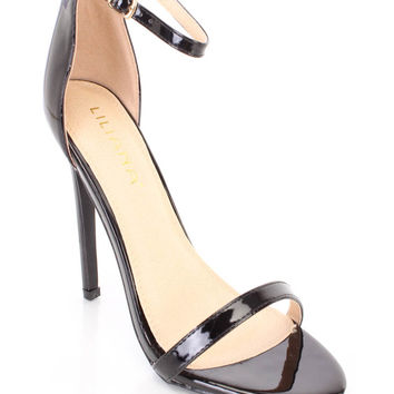 Black Ankle Strap Single Sole Heels Patent Faux Leather