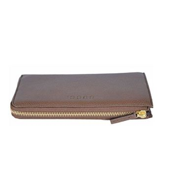 Gucci Women's Brown Leather Quarter Zip Wallet 332747