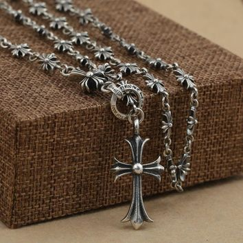 NEC25 Sterling Silver Jewelry Retro Thai Silver Collar Chain Men's Cross Pendant Necklace