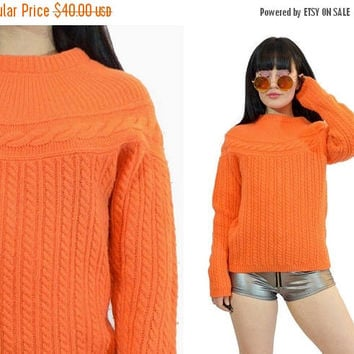 25%SALE vintage 80s wool sweater NEON orange 1980s cableknit jumper sweatshirt pastel soft grunge chunky knit small