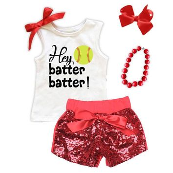 Hey Batter Batter Softball Tank Top Red Bow