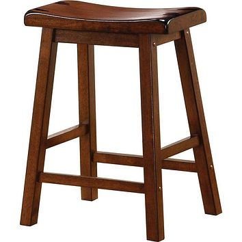 Wooden Casual Counter Height Stool, Chestnut Brown, Set of 2