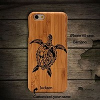 Sea Turtle Iphone 6S Wooden Case,Personalized Iphone 6S Case Unique Real Handmade Iphone 6S Case Ultra Slim Iphone 6S Case Lightweight Iphone 6S Wood Cover(YK003L)