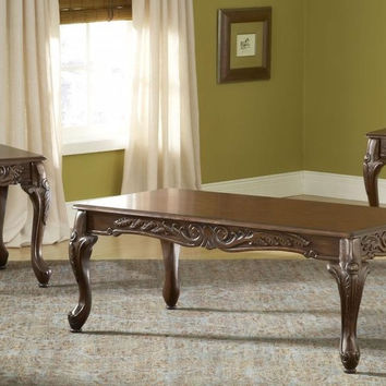 Carved Cherry Coffee Table Set by Serta Upholstery