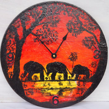 Elephant Wall Clock with 3 Elephants Art Painting Wall Clock Upcycled Recycled Vinyl Record Wall Clock Kitchen Clock Christmas Gift