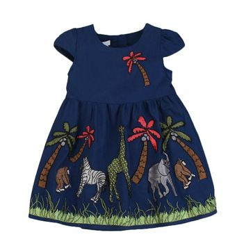 100% Cotton Animal Giraffe elephant summer beach Girls Dress Kids Princess Dresses for Children clothing costume 3-8 years CL020