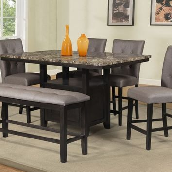 Best Quality D111-6pc 6 pc Maribell collection light espresso finish wood faux marble top counter height dining table set