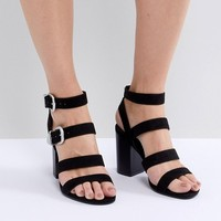 New Look Multi Strap Western Buckle Block Heel Sandal at asos.com