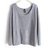 Gray Loose Fit Wide Neckline Knit Jumper with Sequin Embellish