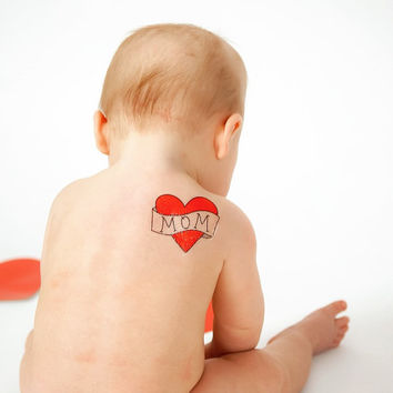 temporary tattoo for babies mom heart tattoo mothers day gift for mom from baby kids fake tattoo red heart tattoo for child photography prop