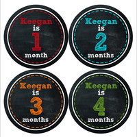 Personalized Baby Boy Monthly Stickers Style #484