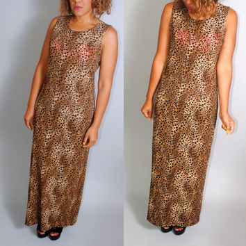 Vintage 1990s Brown and black LEOPARD print sleeveless GRUNGE sleeveless Maxi Dress