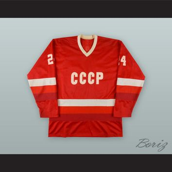 Sergei Makarov 24 Soviet Union CCCP National Team Red Hockey Jersey