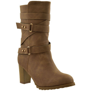 Womens Strappy Mid Calf Boots Brown