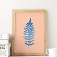 Fern Print, Minimal Wall Decor, Botanical Print, Fern Leaf Poster, Flower Wall Art, Colorful Art, Fern Design, Botanical Poster, 11x14 print