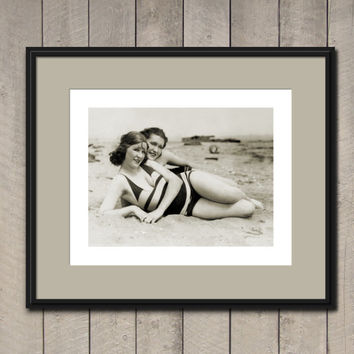 Vintage Pin Up Two 1920s BEACH GIRLS Nautical Home Decor Risque Vintage Postcard Retro Wall Art Burlesque Photography Pinup Photo