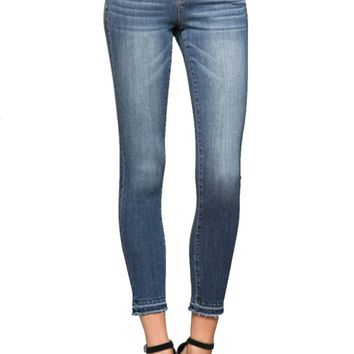 Vervet Jeans By Flying Monkey Mid Rise Double Button Ankle Skinny with Released Hem