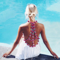 Fashion sexy halter back hollow white edge pink dots beach dress sun-protective clothing
