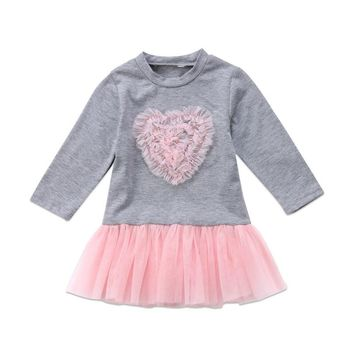 Pudcoco Cute Princess Pink Heart Girls Grey Dress Kids Baby Party Wedding Pageant Long Sleeve Winter Dresses