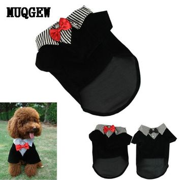 Fashion Small Pet Dog Clothes Western Style Men's Suit Bow Tie