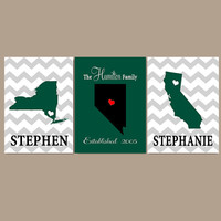 PERSONALIZED STATE WEDDING Gift for Couple, Valentine's Day Gift, Gift for Wife, Gift for Husband, Anniversary Gift, Canvas or Print