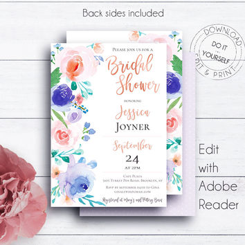 Rose Gold Boho Bridal Shower, Shower Invitation, Floral Bridal, Floral Bridal Shower, Rose, Templates, Printable, DIY Bridal Shower