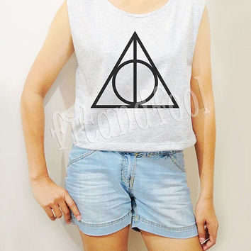 Deathly Hallows Shirts Symbol Harry Potter Shirts Women Crop Top Crop Tee Women Tank Top Women Tunic Women Shirts Teen Shirts - Size S M L