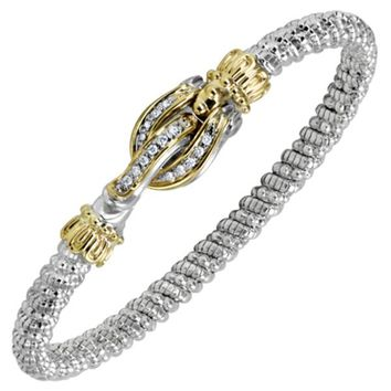 "Vahan Sterling Silver & 14K Yellow Gold Diamond ""Buckle"" Bangle Bracelet"