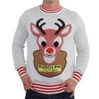 Mounted Rudolph White Christmas Sweater | Tipsy Elves