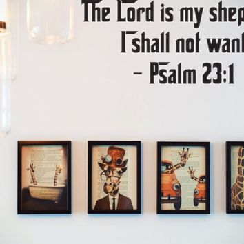 The Lord is my shepherd I shall not want - Psalm 23:1 Style 26 Die Cut Vinyl Decal Sticker Removable