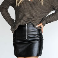 Slow Motion Vegan Black Leather Mini Skirt