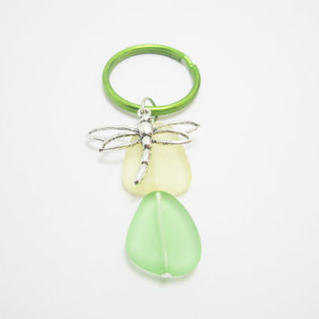 Dragonfly Charm Keychain Green Yellow Sea Glass Beads