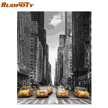 RUOPOTY Frame Picture Street Landscape Diy Painting By Numbers Modern Wall Art Acrylic Canvas Painting For Home Decor 40x50cm