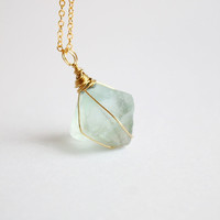 Green Rainbow Fluorite Octahedron Raw Stone Crystal Quartz Rose Gold Necklace, simple, natural, gem, unique, gradual change color, chunk