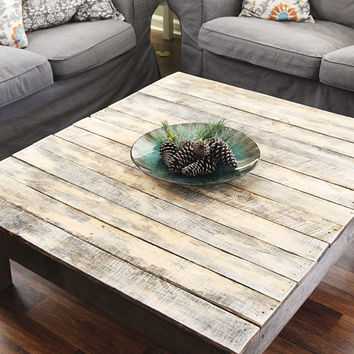 Farmhouse style reclaimed wood coffee from hatch co for Rustic beach coffee table