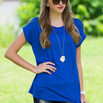 The Perfect Piko Rolled Short Sleeve Top-Classic Blue