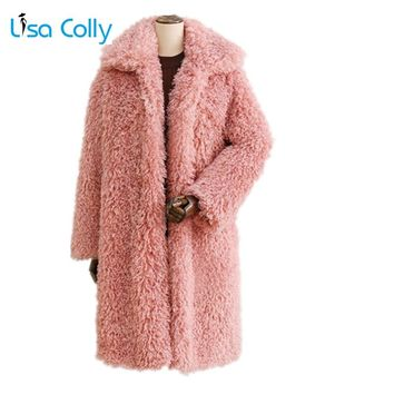 Lisa Colly New Women Winter Thick Fur Coat Women Warm Faux fur Coat Jacket Long Fox fur coat outwear Ladies Lamb Wools Coat