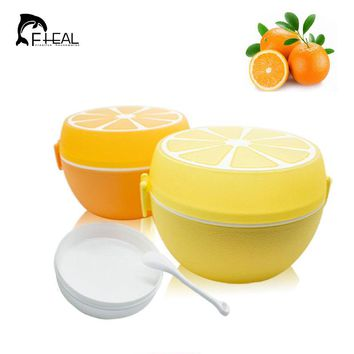 FHEAL Fruit Style Cutlery Plastic Lunch Bento Storage Box For Kids Microwave Bowl Food Container Plate Dinnerware Set