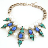Gift Shiny Jewelry Stylish New Arrival Metal Gemstone Pearls Necklace [6586364615]