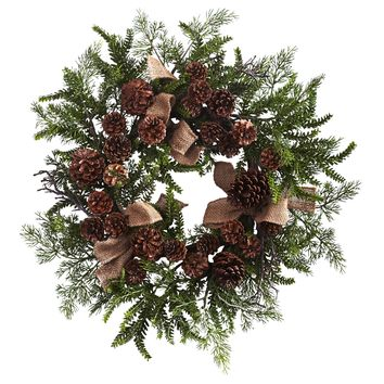 Christmas Wreath -24 Inch Pine And Cone Door Wreath With Burlap Bows
