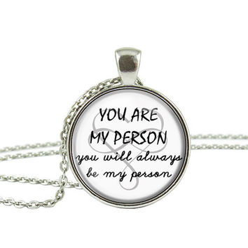 Best Friend Necklace,You Are My Person Quote Necklace,Graduation Mom Daughter BFF Sisters Gift Jewelry Keychain Key Ring
