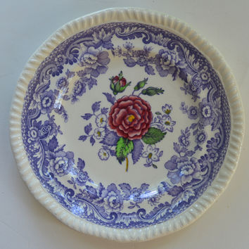 Spode Mayflower Periwinkle Purple  / Lavender Transferware Plate with Hand Painted Pink Roses - French Cottage Decor