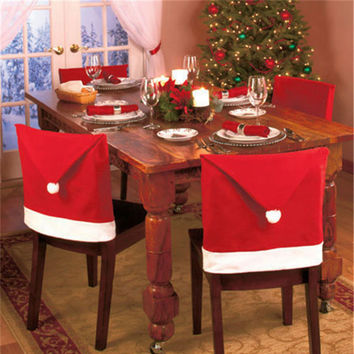 1pcs Santa Clause Cap Red Hat Furniture Chair Back Cover Christmas Dinner Table Party Xmas New Year Decoration
