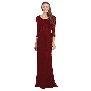 Burgundy Lace Beaded Long Formal Dress with Three Quarter Sleeves